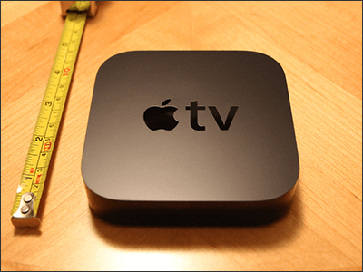 Apple TV with measuring tape