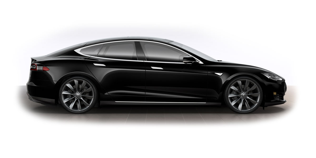 Black Telsa Model S - Side View